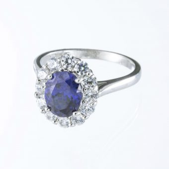 9ct White Gold Tanzanite & Cubic Zirconia Cluster