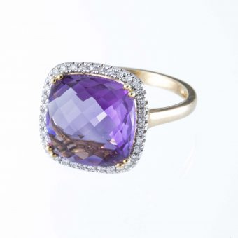 9ct Gold Square Shaped Amethyst & Diamond