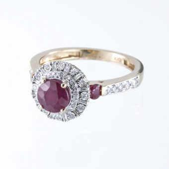 9ct Ruby & Diamond Round Cluster Ring
