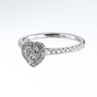 Heart Shaped Platinum Cluster Diamond Ring