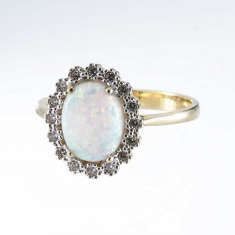 9ct Gold Oval Cubic Zirconia & Opal Cluster Ring