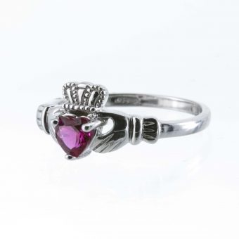 Silver Claddagh Birthstone Ring