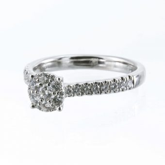 9ct White Gold Halo Solitaire