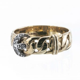 9ct Gold Gents Buckle Ring with Diamonds