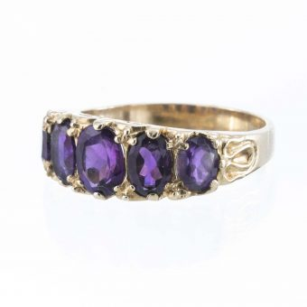 9ct Gold 5 Stone Antique Style Victoriana Amethyst Ring