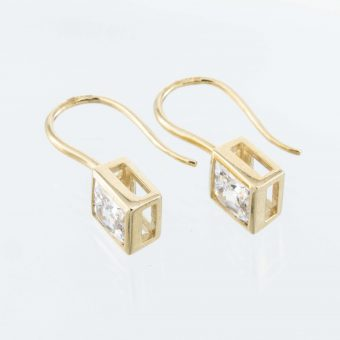 Square Cubic Zirconia Yellow Gold