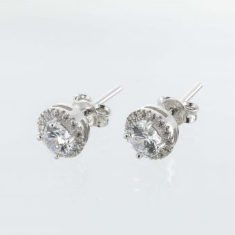 9ct White Gold Cubic Zirconia Cluster