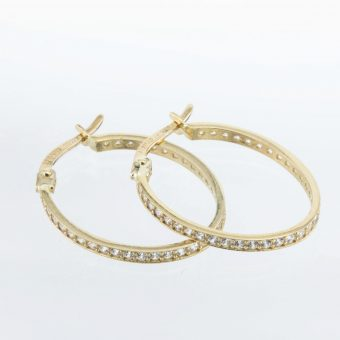Yellow Gold Cubic Zirconia Hoops Earrings