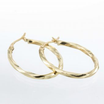 9ct Gold Faceted Hoop Earrings