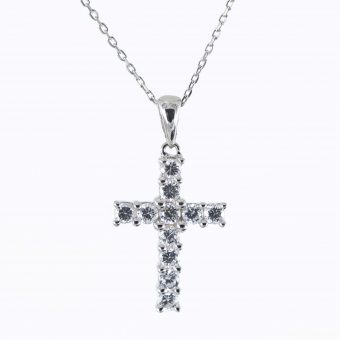 9ct White Gold Cross