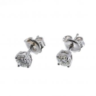 18ct White Gold Round Brilliant Diamond Earrings